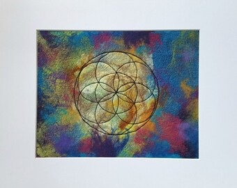 Flower of Life Felted and Embroidered Wall Art