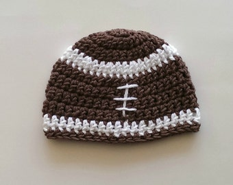 football hat READY TO SHIP 3-6 mo size photography prop crochet football beanie