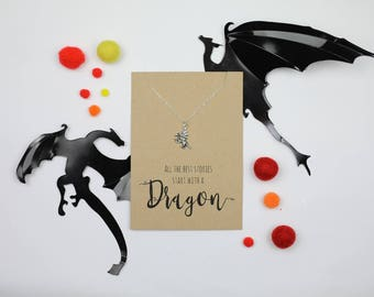 Dragon necklace, silver dragon pendant with dragon charm necklace fantasy necklace  dragon jewellery literary necklace