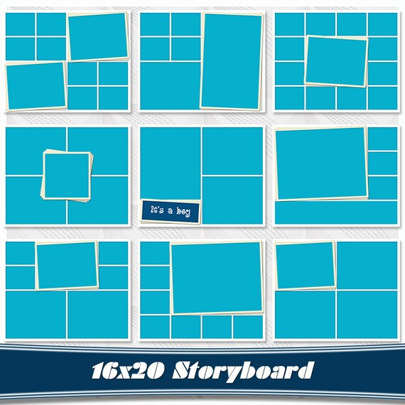 Storyboard Set of 9 Collage Template PSD 16x20 Photo Collage