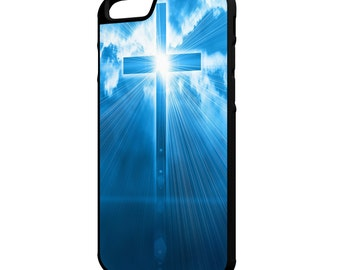 Cross In The Sky iPhone Galaxy Note LG HTC Hybrid Rubber Protective Case Christian