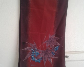 Vintage 70s Rectangle Red Floral Versa Scarf