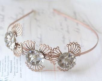 Art nouveau grey crystal jewel headband bridal copper brass wedding head piece vintage style feminine floral filigree
