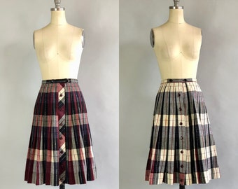 Vintage 1950s Skirt | 50s Red White & Blue Plaid Tartan Pleated Reversible Turnabout Schoolgirl Kilt Skirt Two in One | Extra Small XS