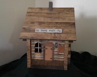 Carved wooden nostalgic folkart north woods trade post cabin