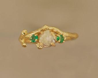 Bud Branch 1 Three stone ring, alternative engagement ring, twig ring, gold twig ring, antler ring, raw diamond twig ring,