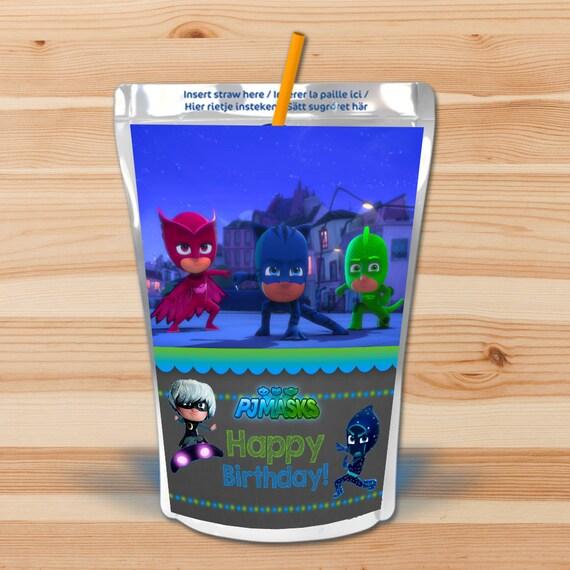 PJ Masks Birthday Capri Sun Labels - Blue & Green Chalkboard - PJ Masks Drink Pouch Label - PJ Masks Birthday Party Printables Party Favors