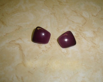 vintage clip on earrings purple lucite