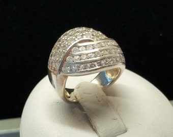 16.9 mm Ring Silver 925 crystals vintage SR861