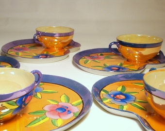 1950s Lusterware 5-Pair Cup & Snack Trays | Blue, Orange, Floral, Kidney