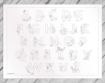 Alphabets and Animals Giant Coloring Poster- Kids Educational Coloring Page by Chromantics