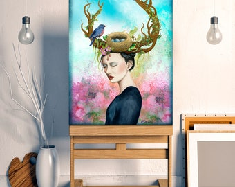 Konohana, Japanese Myth Art: cherry blossoms, goddess painting, dryad, tree of life, woodland fairy decor, watercolor bird nest art