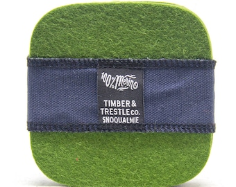 Squircle Merino Wool Felt Coaster Set– Olive Green – 5MM Thick