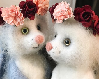 Bunnies in love felted toys gift for sweetheart