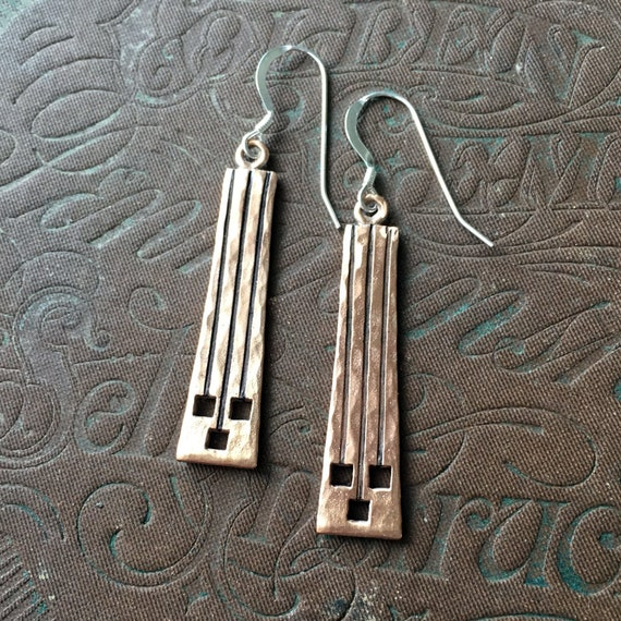 Hammered Copper Earrings, Copper Art Jewelry, Geometric Dangle