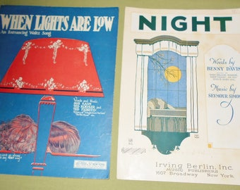 1922 1923 Sheet Music - 2 Pieces ~ When Lights Are Low and Night