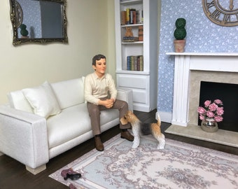 1:12 Scale Miniature Sofa in Ivory with matchng cushions as shown. Modern and unique furniture for any dollshouse or box room