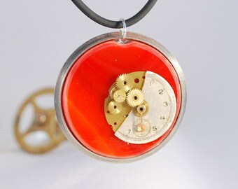 Handcrafted Steampunk Glass Pendant Necklace - 'Dusk', handmade