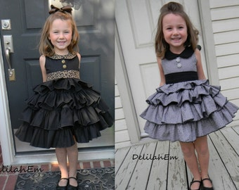 Blanche's Frilly Top and Dress PDF Sewing Pattern sizes 6/12 months to 8 girls