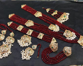 PROMOTIONAL DEAL ZEVAR, Maroon complete Pakistani Bridal Set with Mang Tika, Indian jewelry, Pakistani Jewelry, Wedding and Bridal jewelry