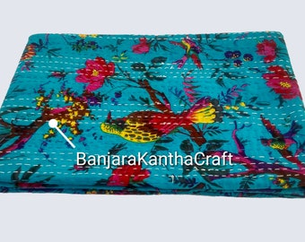 Sky Blue Bedspread Kantha embroidery Bedsheets Bedcover Blanket Throw Baby Quilt Blanket Queen Size King Size Twin Size Sheet for decor