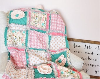 Boho Floral Baby Girl Rag Quilt in Mint, Gold, Coral - Available in Mini Crib Quilt, Crib Quilt, and Toddler Size Quilt