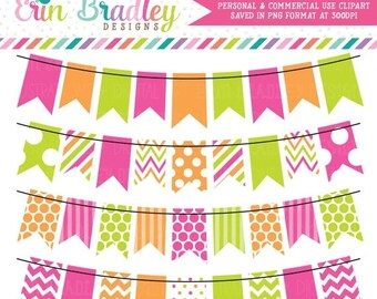 80% OFF SALE Hot Pink Green and Orange Bunting Banner Flag Clipart Clip Art Set Personal & Commercial Use