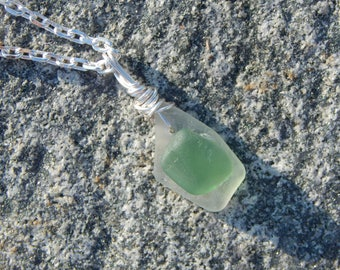 Green Sea Glass Necklace, Seaglass Pendant, Genuine Sea Glass, Green and White Sea Glass Pendant, Found Sea Glass Pendant, Silver Chain