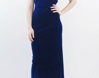 blue velvet maxi dress | velour cage halter dress, small
