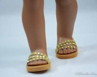 "American Girl or 18 inch doll Ballerina princess party SANDALS SHOES Flipflops dressy Triple ""Fan"" Straps in GOLD sparkle"