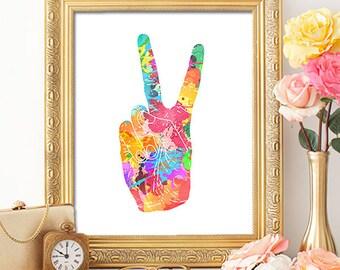 Peace Sign - 8x10 Printable Art, Peace Sign Wall Art, Nursery Wall Art, Kids Room Art, Wall Art, Cubicle Decor, Office Decor