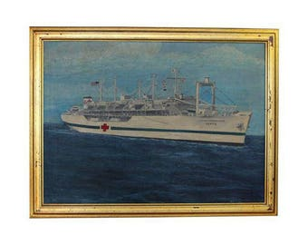 WWII SS Haven Navy Hospital Ship Oil Painting