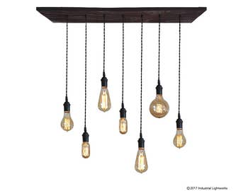 Urban Industrial Pendant Light Chandelier - Restaurant Lighting, Bare Bulb Hanging Light Fixture