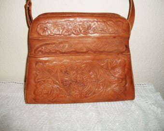 Vintage Avelar Tooled Leather Purse Aztec Mayan Calendar Mexican Indian Embossed Boho Southwestern Accessories
