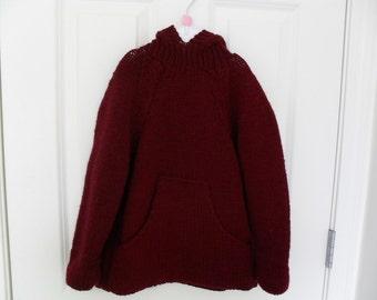 Children's Hand Knit Sweater Deep Red  Size 6