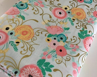 Fabric by the Yard, Baby Quilt fabric, Fabric for Cloth Napkins or Patchwork Quilt, Pink Gold, Just Sayin' Main Mint, You choose the cut