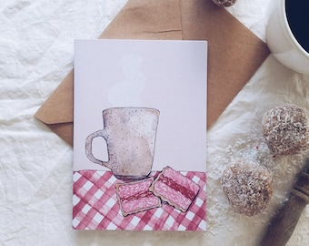 Tea Biscuit Illustrated Blank Greeting Card