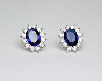 Blue Sapphire Earrings with Diamond Accents 14K White Gold-Filled / Sapphire Earrings Studs
