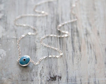 Evil Eye Necklace - Murano Glass and Sterling Silver -- LIGHT BLUE