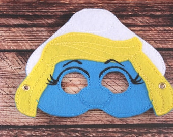 Smurfette Inspired Embroidered Mask
