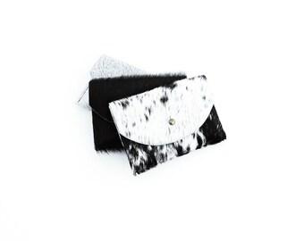 Cowhide Cardholder Black + White   Bag   Wallet   Coin Purse   Envelope Pouch