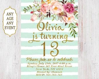 Floral birthday invitation 13th birthday invitations girl mint stripes gold glitter, 14th,15th,16th,17th,18th,19th, Any Age 01