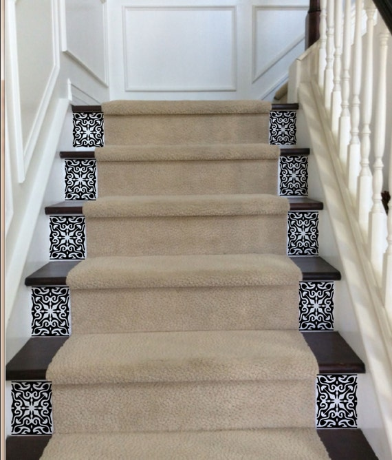 Ornate Vinyl Tile Decals For Carpeted Stairs Decals For