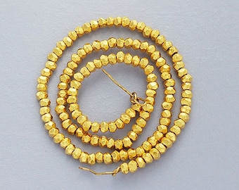 100 of Karen hill tribe 24k Gold Vermeil Style Faceted Rondelle Beads 1.8 mm., 6.3 inches  :vm0013