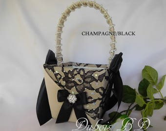 Black lace flower girl basket, Flower girl basket, Champagne and Black flower girl basket, Beaded flower girl basket,  Wedding basket