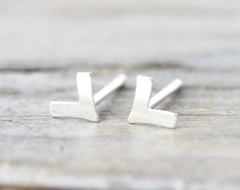 Small chevron earrings - sterling silver studs