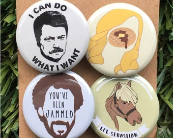 Parks and Recreation Pins - Leslie Knope, Ron Swanson, Lil' Sebastian, Parks and Rec, Treat Yo' Self, Pawnee, Buttons Set or Magnet Set