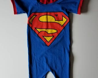 Superman T-shirt Upcycled Romper 2T/3T