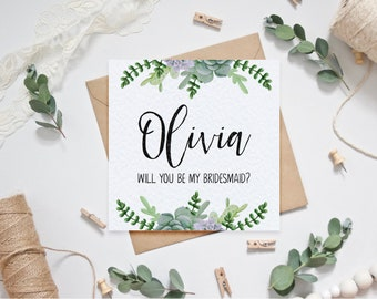 Personalised Bridesmaid Card - Succulents