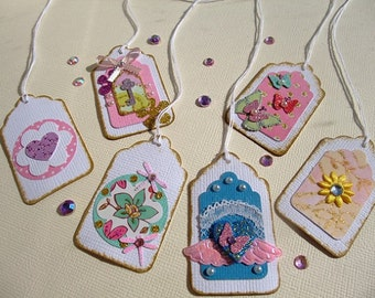 Mini Paper Tags, Embellishment, Birthday Tags, Birthday, Shower, Scrapbook, Thanks,Thank You Tag, (Set of 6)